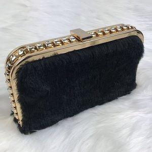 Kate Landry Black Faux Fur Clutch Gold Chain